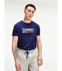 camiseta de algodón con logo azul tommy jeans