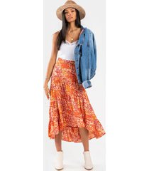 eve tiered paisley maxi skirt - brown