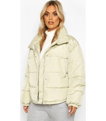 plus funnel neck cropped puffer jacket, sage