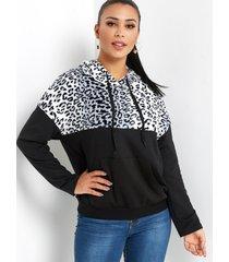 estuche de leopardo negro con bolsillo de manga larga capucha