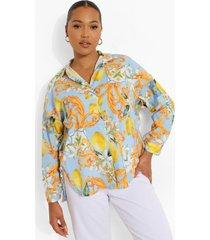 plus oversized fruit en tegelprint blouse, blue