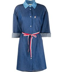 semicouture belted chambray shirt-dress - blue