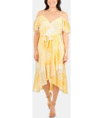 ny collection ruffled cold-shoulder dress