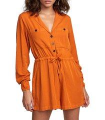 women's rvca desert daze romper, size x-large - orange