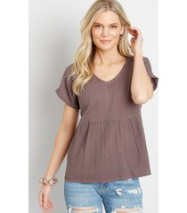 maurices womens button back babydoll top brown