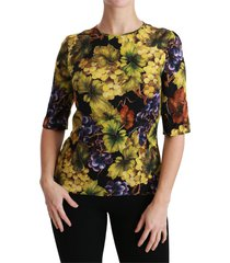 grape floral silk stretch t-shirt van top blouse