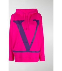 valentino oversized jersey logo print hoodie