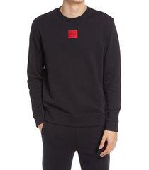 men's hugo logo patch french terry crewneck sweatshirt, size x-large - black