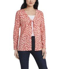 women's textured knit printed tie front cardigan