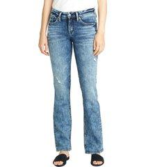 women's silver jeans co. suki distressed slim fit bootcut jeans, size 28 x 33 - blue