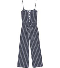 women's rails harper tie waist crop jumpsuit, size large - blue
