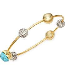 10k goldplated & crystal orbiting metal sphere bangle bracelet
