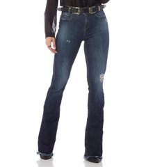 calça denim zero flare média estonada jeans
