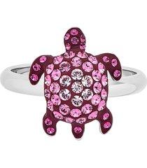 anello mustique sea life turtle, piccolo, rosa, placcato palladio
