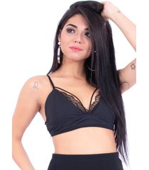 top up side wear renda preto