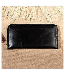 long leather wallet, 'bajio black' (mexico)