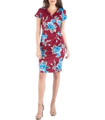 24seven comfort apparel floral print faux wrap over dress with cap sleeves