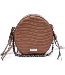 bolsa transversal maria milã£o redonda matelass㪠cobre metalizada - bronze/cafã©/caramelo/cobre/marrom - feminino - dafiti