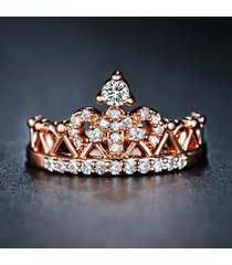 rose gold crown ring, princess crown ring w/ cz, tiara ring 925 sterling silver