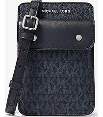 mk borsa a tracolla con logo per smartphone - blu ammiraglio/blu pallido (blu) - michael kors