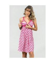 camisola amamentação feminina com robe serra e mar modas rosa