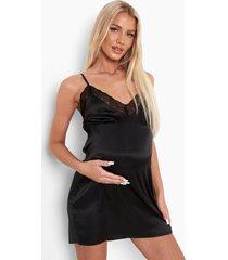 zwangerschap satijnen nachtjapon met kanten zoom, black