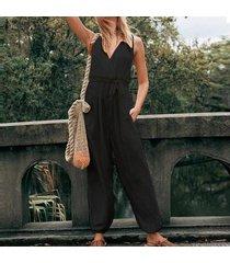 zanzea s-5xl de las mujeres de tiras anchas piernas pantalones largos de gran tamaño bib pantalones cargo dungaree plus -negro
