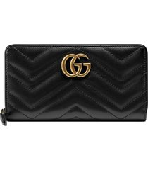 gucci marmont quilted leather wallet - black