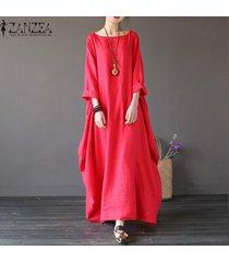 zanzea para mujer cuello redondo vestido de la camisa 3/4 manga del batwing holgado largo maxi casual del partido kaftan sólido tamaño del traje vestido plus -rojo