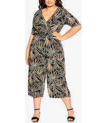 city chic trendy plus size etch frond jumpsuit