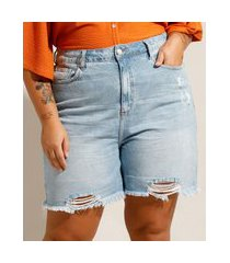 bermuda plus size jeans destroyed cintura alta azul claro