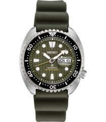 seiko men's automatic prospex king turtle green silicone strap watch 45mm - a special edition