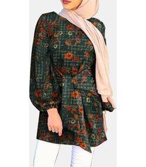 camicetta casual da donna con maniche a sbuffo con stampa etnica calicò