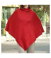 alpaca blend poncho, 'red riding hood' (peru)