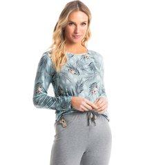pijama longo estampado bella