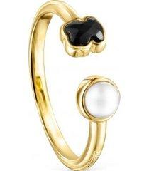 anillo glory de plata vermeil con ónix y perla - tous