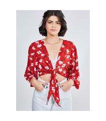 kimono vermelho estampa floral