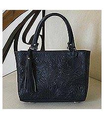 leather handbag, 'garden impressions in navy' (mexico)