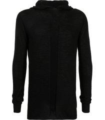 rick owens longline wool hoodie - black