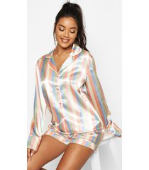korte gestreepte satijnen pyjama set, meerdere