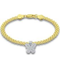 giani bernini cubic zirconia butterfly charm bismark chain bracelet, created for macy's