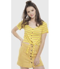 blusa only mink amarillo - calce regular