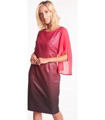 błyszcząca sukienka z szyfonowymi rękawami