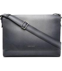 orciani micron leather messenger bag - grey