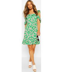 daisy print ruffle strap mini dress, green