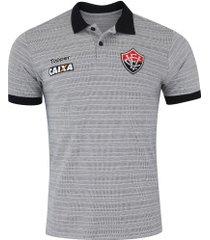 camisa polo do vitória viagem comissão técnica 2018 topper - masculina - cinza/preto