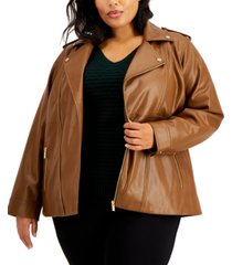 calvin klein plus size faux leather motorcycle jacket