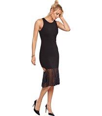 vestido modisch midi babado preto