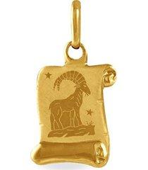 ciondolo in oro giallo pergamena segno zodiacale capricorno per unisex