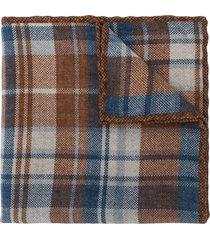 brunello cucinelli check-print square scarf - brown